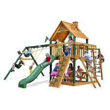Playground Flooring Lowes by Shop Gorilla Playsets Navigator Residential Wood Playset With
