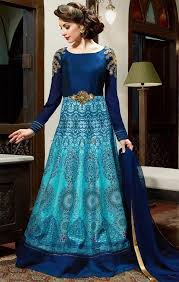 gown for wedding buy pretty sky blue embroidered silk indian evening gown for