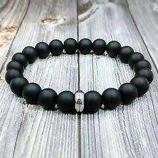 bracelet mens ebay images Black onyx bracelet ebay jpg