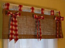 burlap tab valance with red and white check tabs by craftyamour