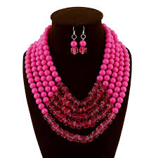pink coloured beads necklace images 2018 new high quality beaded necklace and earring sets accessories jpg