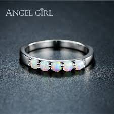 white fire rings images Angel girl simple ring round white pink blue white fire opal rings jpg