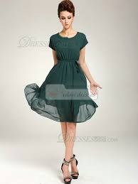 a line knee length chiffon sashes dark green prom dresses with