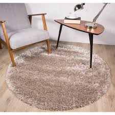 5ft Round Rug by Mink Living Room Shaggy Round Rug Calgary Kukoon