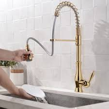 kitchen faucet brass modern style gooseneck single handle pull out kitchen faucet