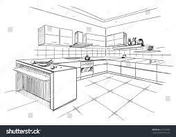 modern corner kitchen sketch modern corner kitchen black pencil stock vector 672754702