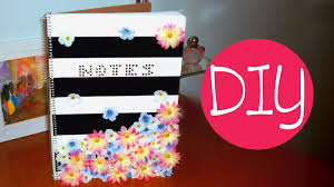 DIY back to school notebook Striped floral