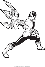 power rangers pose holding a trident rod coloring pages for kids