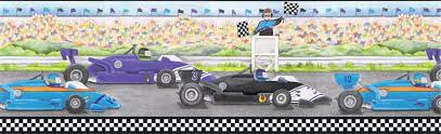 KIDS BOYS ROOM CAR RACE Wallpaper Border CIB EBay - Wall borders for kids rooms