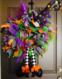 how to make a halloween wreath with mesh ribbon cute diy witch wreath tutorials u0026 ideas for halloween halloween