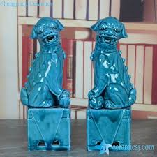 turquoise foo dogs for sale ryjz15 cerulean blue color glaze hot online sale pair of foo dog