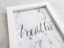 custom ink calligraphy home decor includes frame marble print