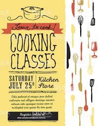 retro revival cooking classes design template stock vector art