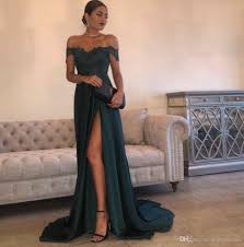 simple evening gowns a line hunter green chiffon high split cutout