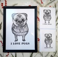 new pug art prints and greeting cards to go on sale at little