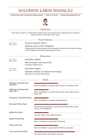 Internship In Resume Sample by Technical Support Resume Samples Visualcv Resume Samples Database