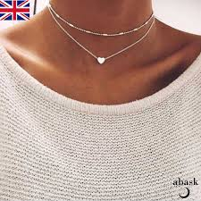boho layered necklace images Silver heart layered necklace chain boho festival uk seller ebay jpg