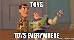 Toys Meme - toys toys everywhere buzz and woody toy story meme make a meme