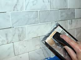 Installing Backsplash Kitchen by Grouting Glass Tile Backsplash Edges Floor Decoration