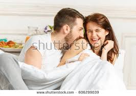Lovely Couple In Bed Lying In Bedroom Young Lovely Couple Lying White Bed Stock Photo 538862416