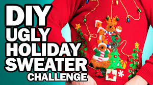 diy ugly holiday sweater challenge man vs corinne vs pin youtube