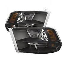 dodge ram black amazon com perde dodge ram 1500 2500 black headlights set