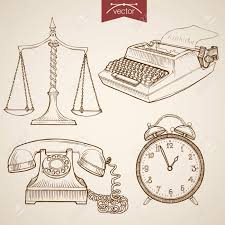 engraving vintage hand drawn vector law and justice collection
