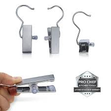 pro chef kitchen tools stainless steel hanging clip hook set of 10 b