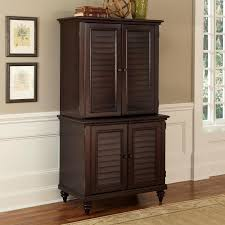 Computer Desk With Doors Brown Lacquered Mahogany Wood Computer Desk Armoire With Shutter