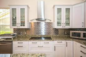 brick backsplashes for kitchens brick kitchen backsplash l shaped kitchen with metal mosaic