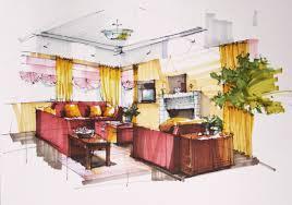 Red Sofa Set by Interior Design Interior Designer Drawing Of Living Room Design