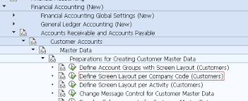 define screen layout per company code customers ob21