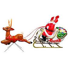 santa sleigh and reindeer santa with sleigh and reindeer collectible