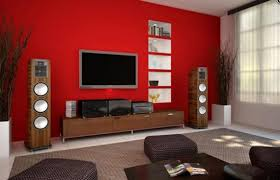 a dark red or rust wall behind the tv would add depth and a dark