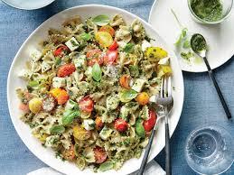 pasta salad pesto pasta salad with tomatoes and mozzarella recipe myrecipes