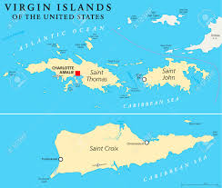 United States Map With Oceans by United States Virgin Islands Political Map A Group Of Islands