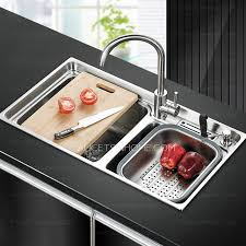 Practical Double Sinks Nickel Brushed Stainless Steel Kitchen - Brushed stainless steel kitchen sinks