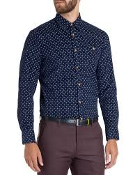 ted baker cord fish print shirt in blue for men lyst