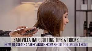how to cut hair into a steep angle and maintain length in the