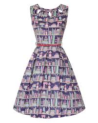 Purple Bookcase Lily Purple Baking Bookcase Print Swing Dress Vintage Inspired