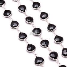 black onyx silver bracelet images Black onyx silver bezel chain 1m heart shape faceted silver jpg