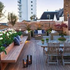 rooftop patio garden builders uk bench and planter design balcony pinterest