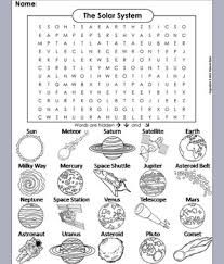 printable word search worksheets solar system and planets worksheet word search astronomy unit