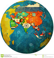 Political Map Asia by Political Map Of Asia On Globe Map Royalty Free Stock Images