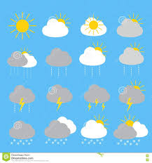 weather forecast icon set with sunny rainy thunderstorm stock