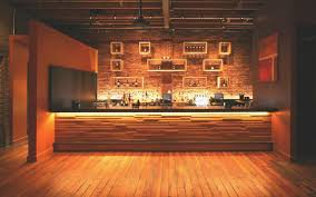 interior wood slat recycled panelling in modern bar design
