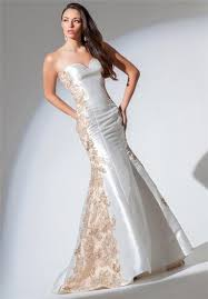 white wedding dress with gold beading white satin gold applique lace beaded prom dress