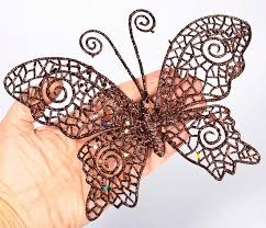 chocolate brown glitter filigree butterfly birds butterflies