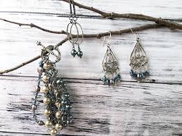 Gunmetal Chandelier Earrings Blue Crystal Pearl U0026 Silver Bali Chandelier Earrings Ss Magpie