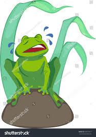 illustration cartoon frog upset crying sitting stock vector